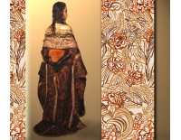 Kimono tela Tierra con piel